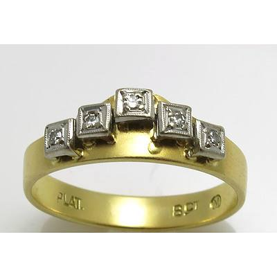 Vintage 18Ct Gold & Platinum Diamond Ring