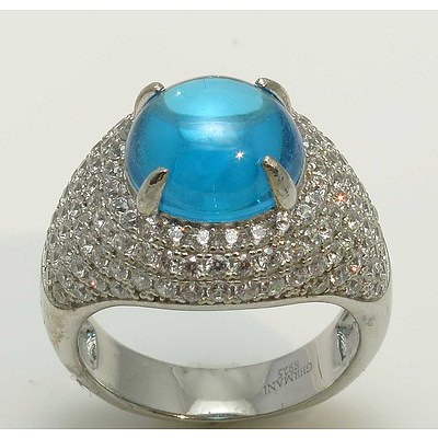Sterling Silver Ring - Topaz Blue Cz Cabochon, Pave Set With White Cz