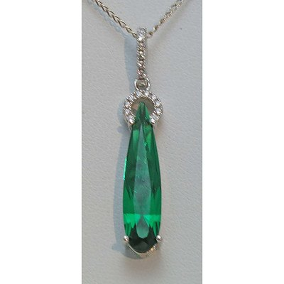 Sterling Silver Pendant - Emerald Green Cz, Pave Set With White Cz