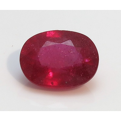 Large Facetted Ruby, Oval 3.25Cts
