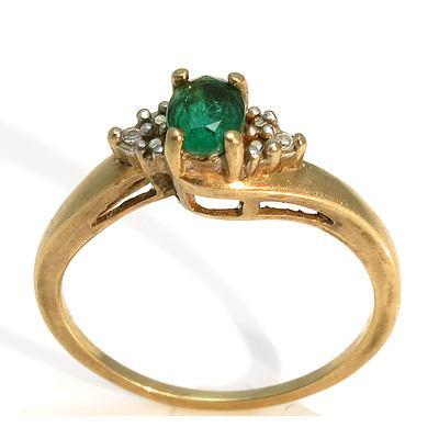 9Ct Gold Gilson Emerald & Diamond Ring