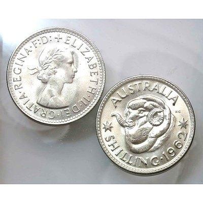 Australian Silver Shillings 1962 (x2)