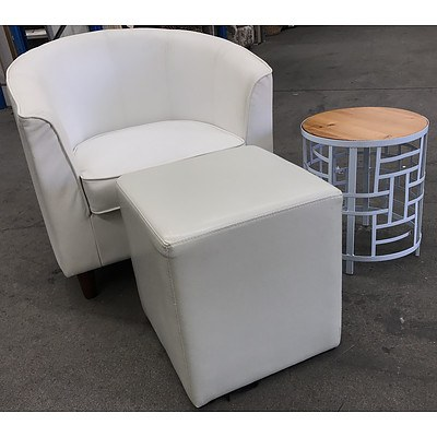 White PU Leather Tub Chair with Ottoman & Side Table