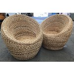 Two Woven Moon Chairs