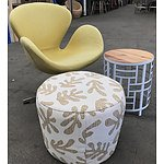 Retro-Style Winged Arm Chair with Ottoman & Side Table