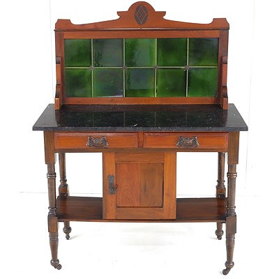 Edwardian Walnut Tile-Back Washstand with Later Granite Top