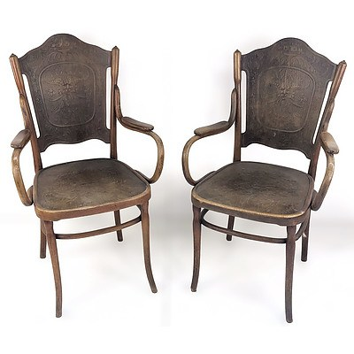 Two J & J Kohn Bentwood Armchairs with Press Moulded Backs and Seats Circa 1900