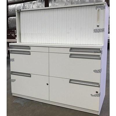 White Melamine Stationary Storage Cabinet