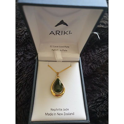 22kt Gold Plate Ariki Necklace with Jade