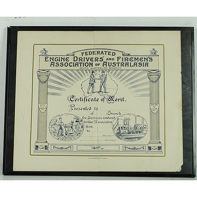 Framed Engine Drivers and Firemen's Certificate Association of Australasia, South Australian Branch
