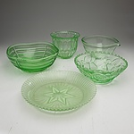 A Group of Depression and Vintage Green Glass Bowls