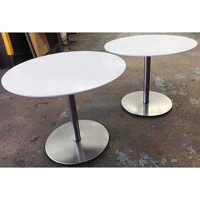 White HD Laminate 900 Cafe Tables - Lot of 5