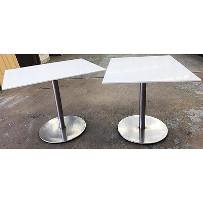 White HD Laminate 900 x 700 Cafe Tables - Lot of 4