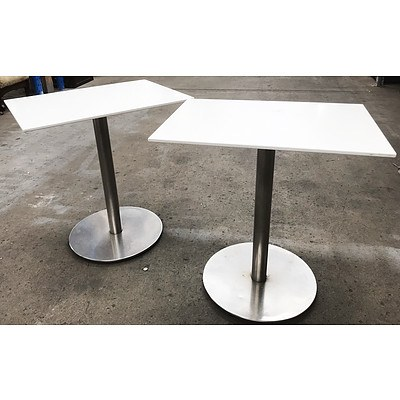 White HD Laminate 700 x 500 Cafe Tables - Lot of 4
