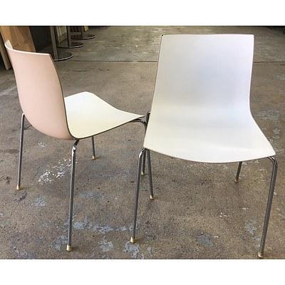 StyleCraft Coffee & Cream Monoshell Chairs - Lot of 4