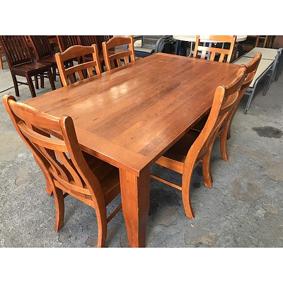 Substantial Seven Piece Maple Dining Setting
