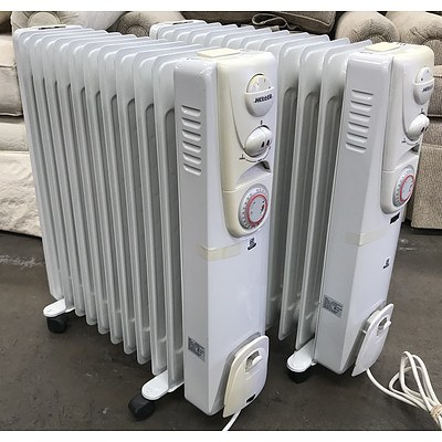 Two Heller 2400w Column Oil Heaters