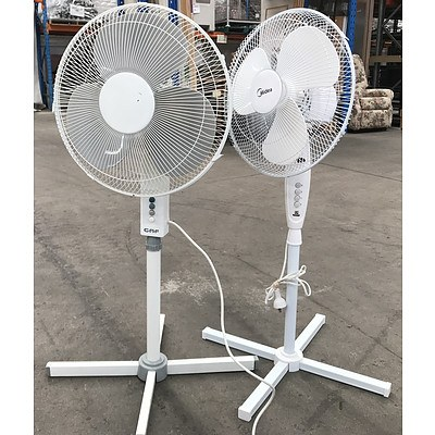 Two Oscillating Pedestal Fans