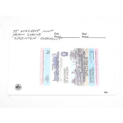Specimen St. Vincent Train Stamps