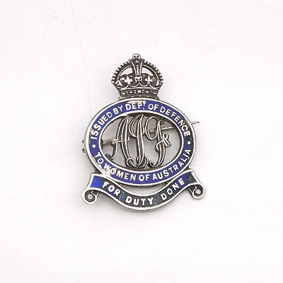 To Women of Australia For Duty Done - Issued by Department of Defense - WWII Medal