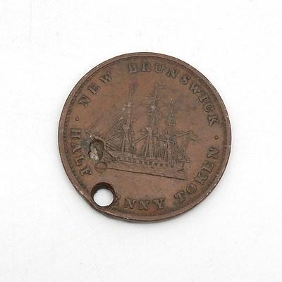 1843 Queen Victoria New Brunswick Penny Token