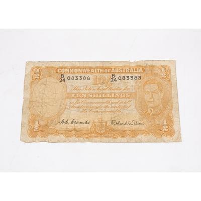 1955 Australian Ten Shillings Banknote
