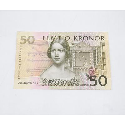 Swedish 50 Kronor Banknote