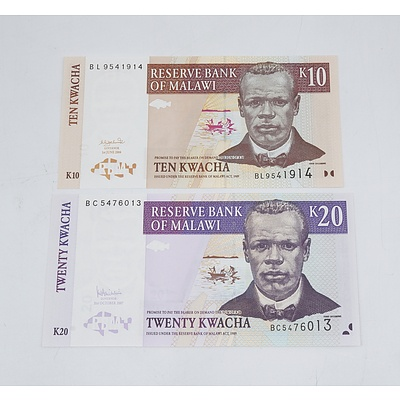 Reserve Bank of Malawi Ten Kwacha and Twenty Kwacha Banknotes Uncirculated