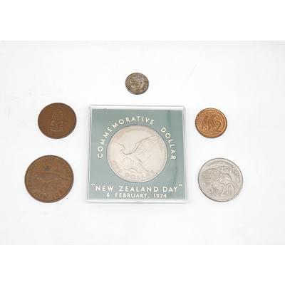 1974 New Zealand Dollar, 1944 Half Penny, 1934 Three Pence, 1958 Penny, 1981 Twenty Cents and 1967 Penny