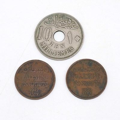 1917 Egyptian Ten Milliemes, 1927 Palestine One Milliemes and 1939 Palestine One Milliemes