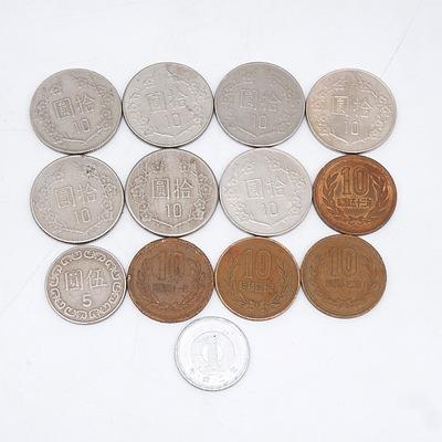 Seven Taiwan 10 Yuan (1981-1993), Four Japan 10 Yen, 1x Japan 1 Yen and 1x Taiwan 5 Yuan
