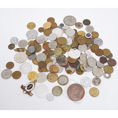 Large Collection of Various Tokens and Coins