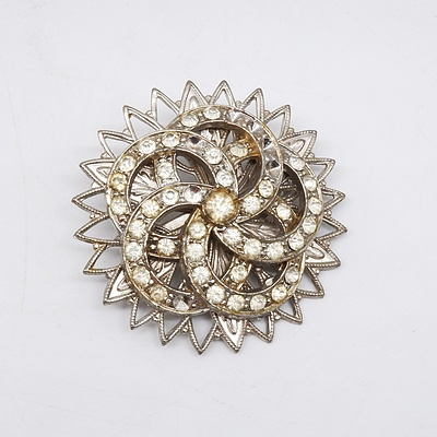Vintage Spiral Star Burst Paste Brooch