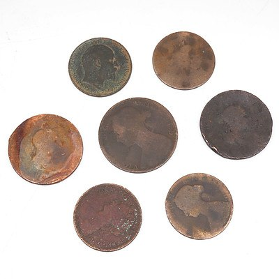 Seven Antique English Pennies and Half Pennies