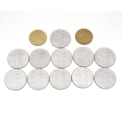 Thirteen Italian Lire Coins