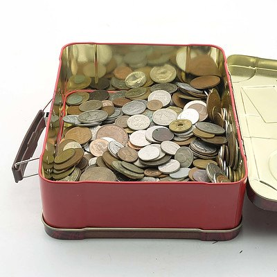 Large Group of International Coins and a Walkers Biscuit Tin