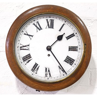Antique English Oak Cased Railway Clock With Fusee Movement