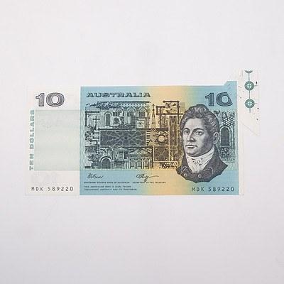 Australian $10 Fraser/ Higgins Error Note, MDK589220