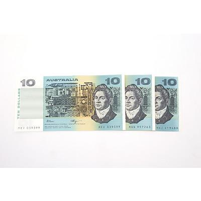 Three Australian $10 Paper Notes, Including Fraser/ Higgins MEV039399, Fraser/Cole MHJ419489 and Fraser/Cole MQQ997263