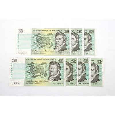 Seven Commonwealth of Australia $2 Paper Notes, Including Coombs/ Wilson FAR242301, Coombs/ Randall FLL474283