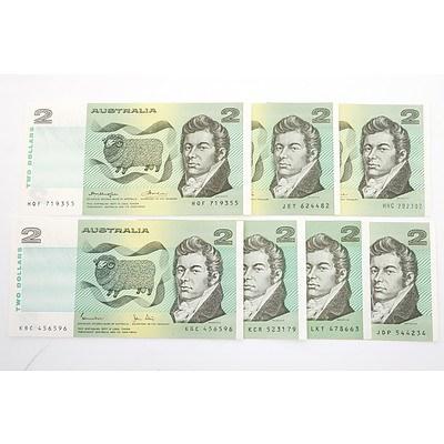 Seven Australian $2 Paper Notes, Including Knight/Wheeler HNC 202302, Knight/ Stone JET624482, Johnston/ Fraser LKT478663