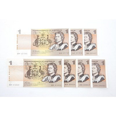 Seven Commonwealth of Australia $1 Paper Notes, Including Coombs/ Wilson AAF017970, Coombs/ Randall AHH521760