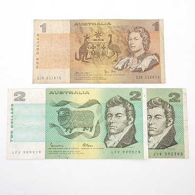 Three Australian Paper Notes, Including Johnston/ Fraser $2 LFV999929, Knight/ Stone $2 JYE592393 and Knight/ Stone $1 CZK032879