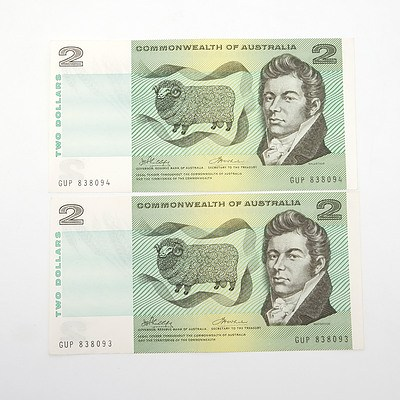 Two Consecutively Numbered $2 Phillips/ Wheeler Paper Notes, GUP838093-GUP838094