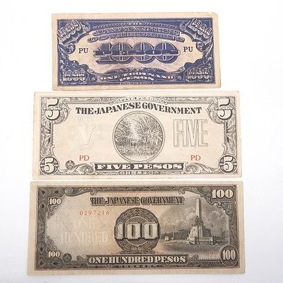 Three Japanese Occupation Currency Notes, 1000, 100 and 5 Pesos