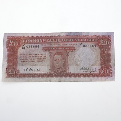 1949 Commonwealth of Australia 10 Pound Coombs / Watt Note, V18 088684