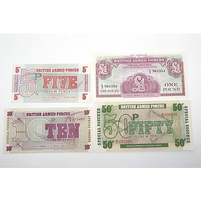 Four British Armed Forces Notes, One Pound, Five Pence, Fifty Pence and Ten Pence