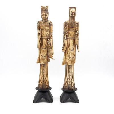 Two Carved Bone Figures of Chinese Nobility
