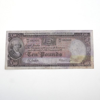 Commonwealth of Australia 10 Pound Coombs / Wilson Note, WA37 882400