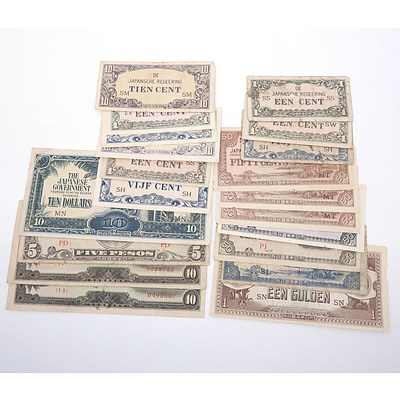 Japanese Occupation Currency for the Netherlands New Guinea, Philippines, Malaya, Singapore,